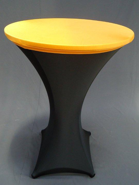 Statafel met zwarte strechhoes en oranje topcover